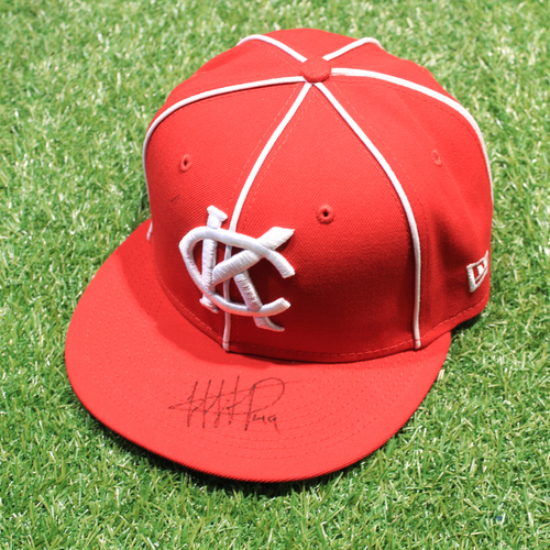 Photo of Game-Used & Autographed Hat: Hanser Alberto #49 (DET @ KC 5/23/21) - Size 7 1/8