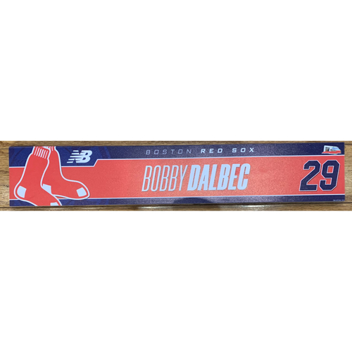 Photo of Bobby Dalbec August 10, 2021 and August 21, 2021 Game Used Locker Tag