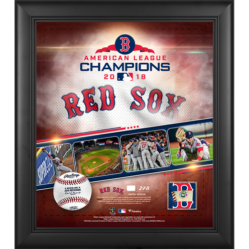"""Photo of Boston Red Sox 2018 American League Champions Framed 15"""" x 17"""" Collage with a Piece of ALCS Game-Used Baseball - L.E. #1 of 218"""