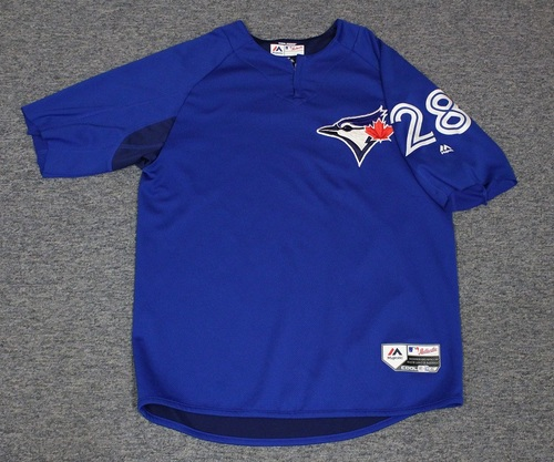 Photo of Authenticated Team Issued Batting Practice Jersey - #28 Billy McKinney. Size L. Part of Sleeves cut off.