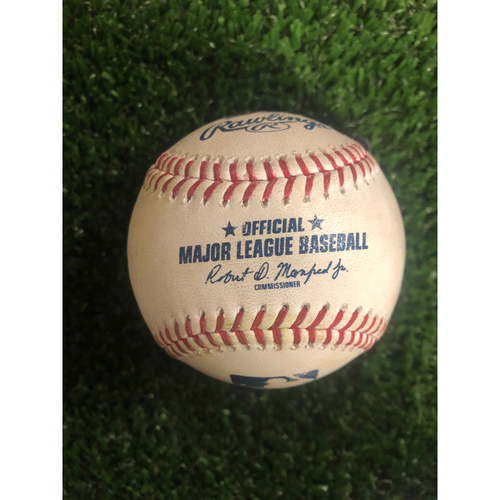 Photo of Ronald Acuna Jr. Game Used Hit Double Baseball - 9/20/19 - Braves Clinch NL East