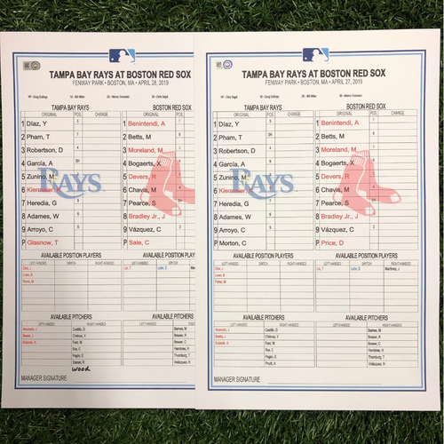 Replica LineUp Cards: April 27-28, 2019 at BOS