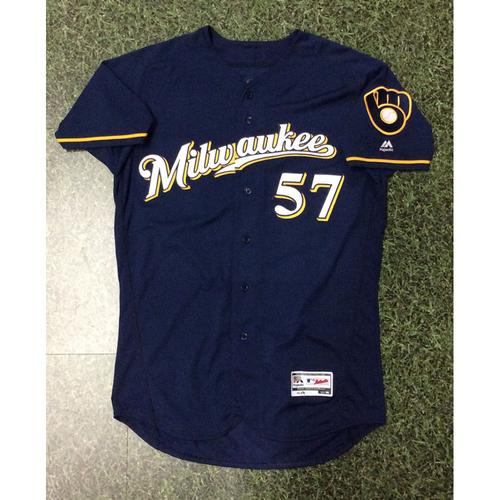 Photo of Chase Anderson 06/29/18 Game-Used Navy Ball & Glove Jersey - 6.0 IP, 2 H, 1 BB, 5 SO, Win #6