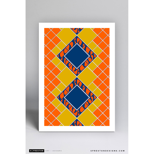 Photo of Comerica Park Pewabic Tile - Minimalist Ballpark Art Print by S. Preston - Detroit Tigers