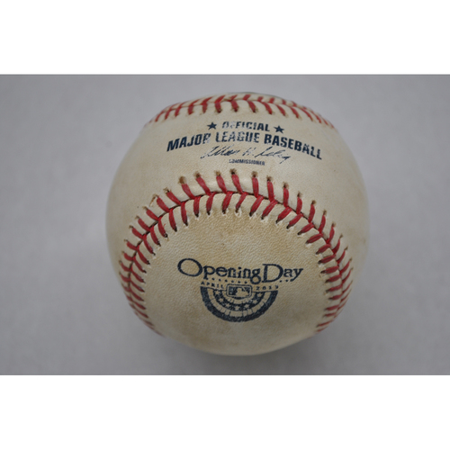 Photo of Game-Used Baseball - SFG at LAD - 4/1/13 - Pitcher: Matt Cain, Batter - Mark Ellis - Hit by Pitch, Bot 1st - Opening Day