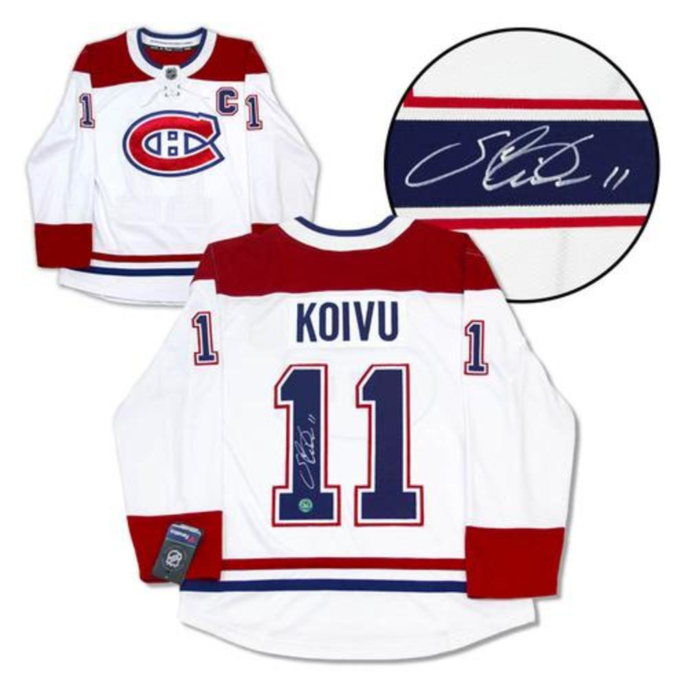 Saku Koivu Montreal Canadiens Signed White Fanatics Jersey