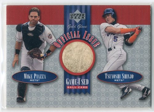 Photo of 2001 Upper Deck Gold Glove Official Issue Game Ball #OIPS Mike Piazza/Tsuyoshi Shinjo