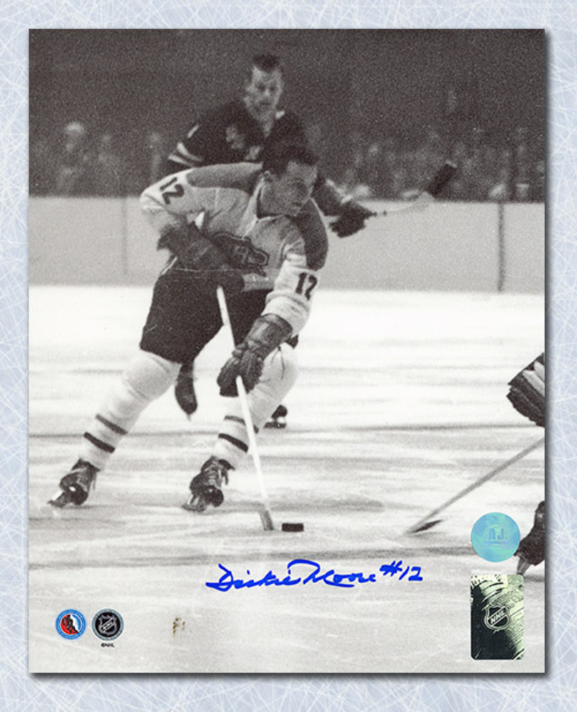 Dickie Moore Montreal Canadiens Autographed Black & White Action 16X20 Photo