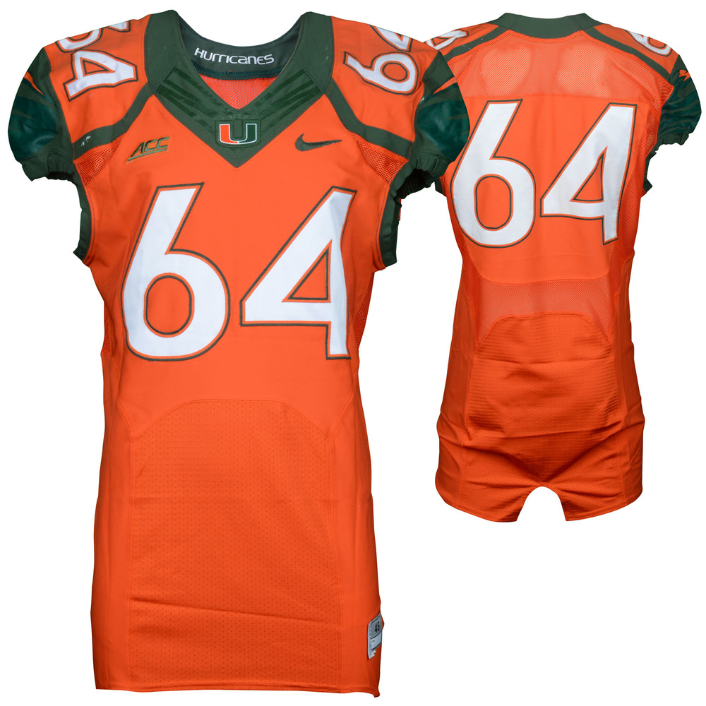 Miami Hurricanes Game-Used 2014 Nike Orange Football Jersey #64 - Size 46