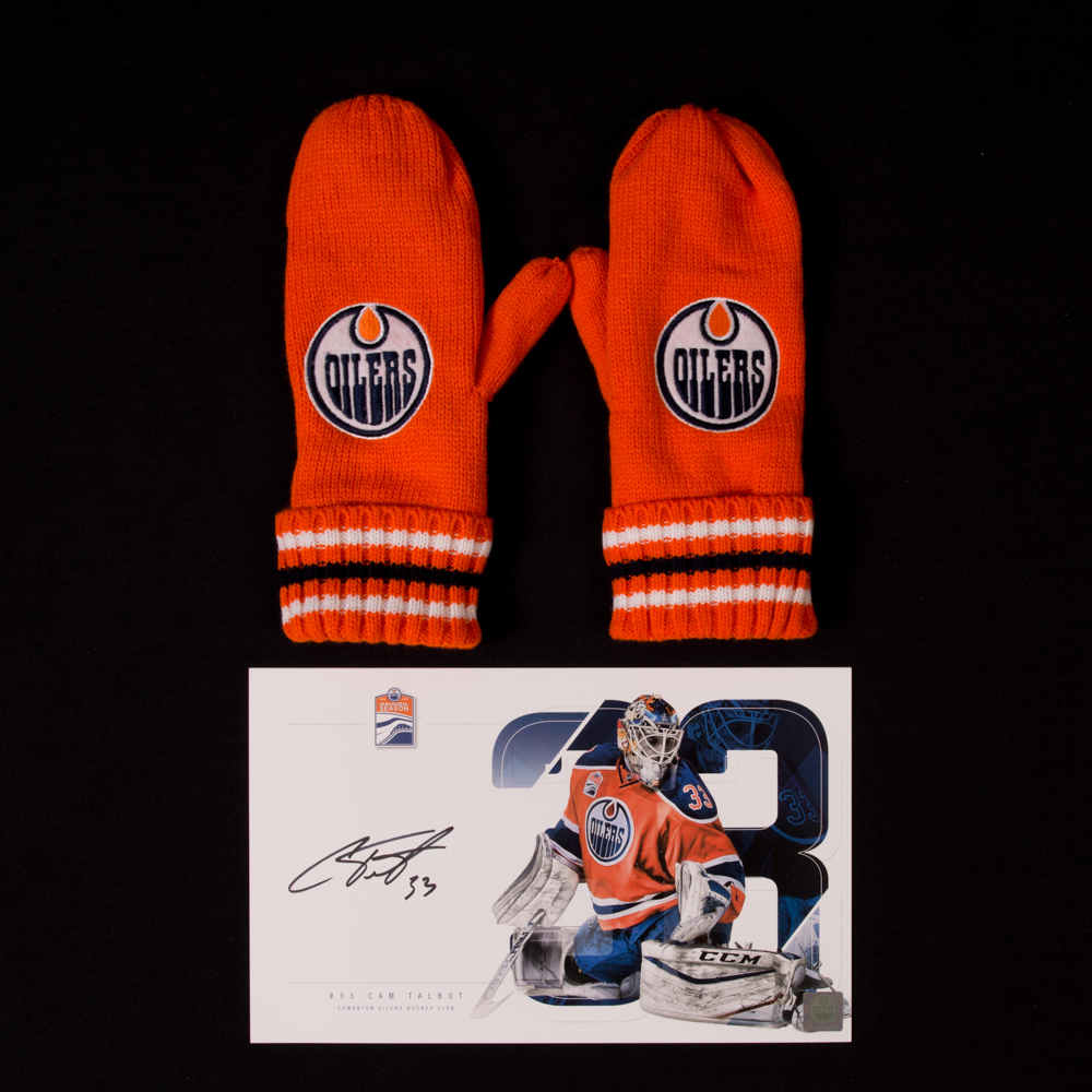 Cam Talbot #33 - Autographed Edmonton Oilers Player Card And Pair Of Hockey Fights Cancer Mittens