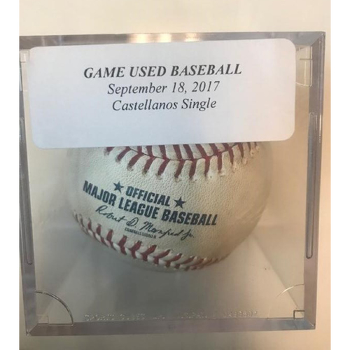 Game-Used Baseball: Nicholas Castellanos Single