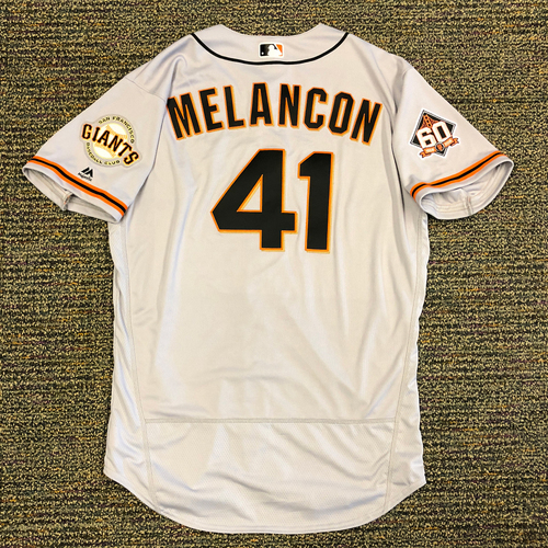 Photo of San Francisco Giants - 2018 Opening Day Team Issued Road Jersey - #41 Mark Melancon - Jersey Size 48