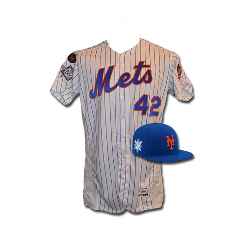 eb1ae09c6 Seth Lugo - Game Used White Pinstripe Jackie Robinson  42 Jersey and Hat -  Mets