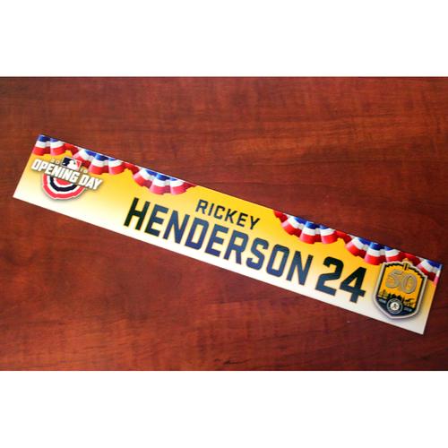 Photo of Rickey Henderson Team-Issued Opening Day 2018 Locker Nameplate