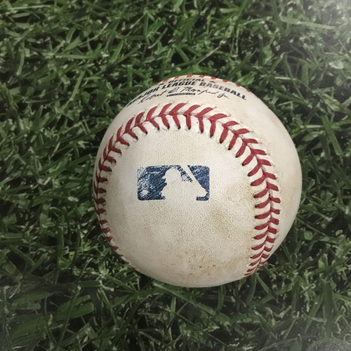 Photo of Game-Used Baseball ATL@MIL  04/28/17 - Chase Anderson - Matt Kemp: 3-Run Double