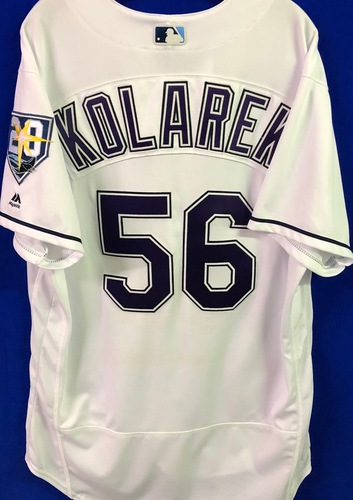 Photo of 20th Anniversary Game Used Devil Rays Jersey: Adam Kolarek (1.2 IP, 2 SO) - September 8 v BAL