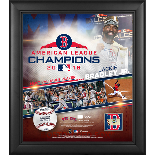 """Photo of Jackie Bradley Jr. Boston Red Sox 2018 American League Champions Framed 15"""" x 17"""" MVP Collage with a Piece of ALCS Game-Used Baseball - L.E. #1 of 218"""