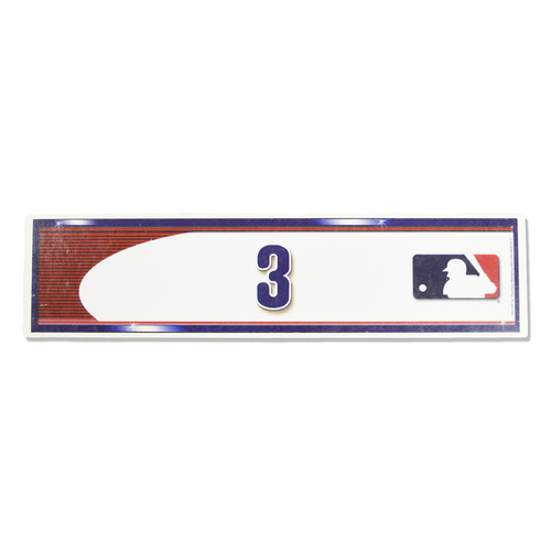Photo of Curtis Granderson #3 - Game Used Visiting Locker Nameplate - Used During Playoff Clinch - Mets vs. Phillies - 9/30/16 - Mets vs. Phillies - 10/1/16