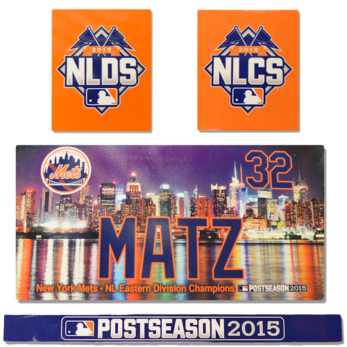 Photo of Steven Matz #32 - Game Used Locker Nameplate Set - First Playoff Game at Citi Field - Mets vs. Dodgers -10/12/15 - NLCS Game 1 - Mets vs. Cubs - 10/17/15