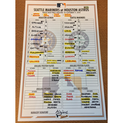 Photo of 2018 Game-Used Lineup Card - 9/17/18 vs SEA