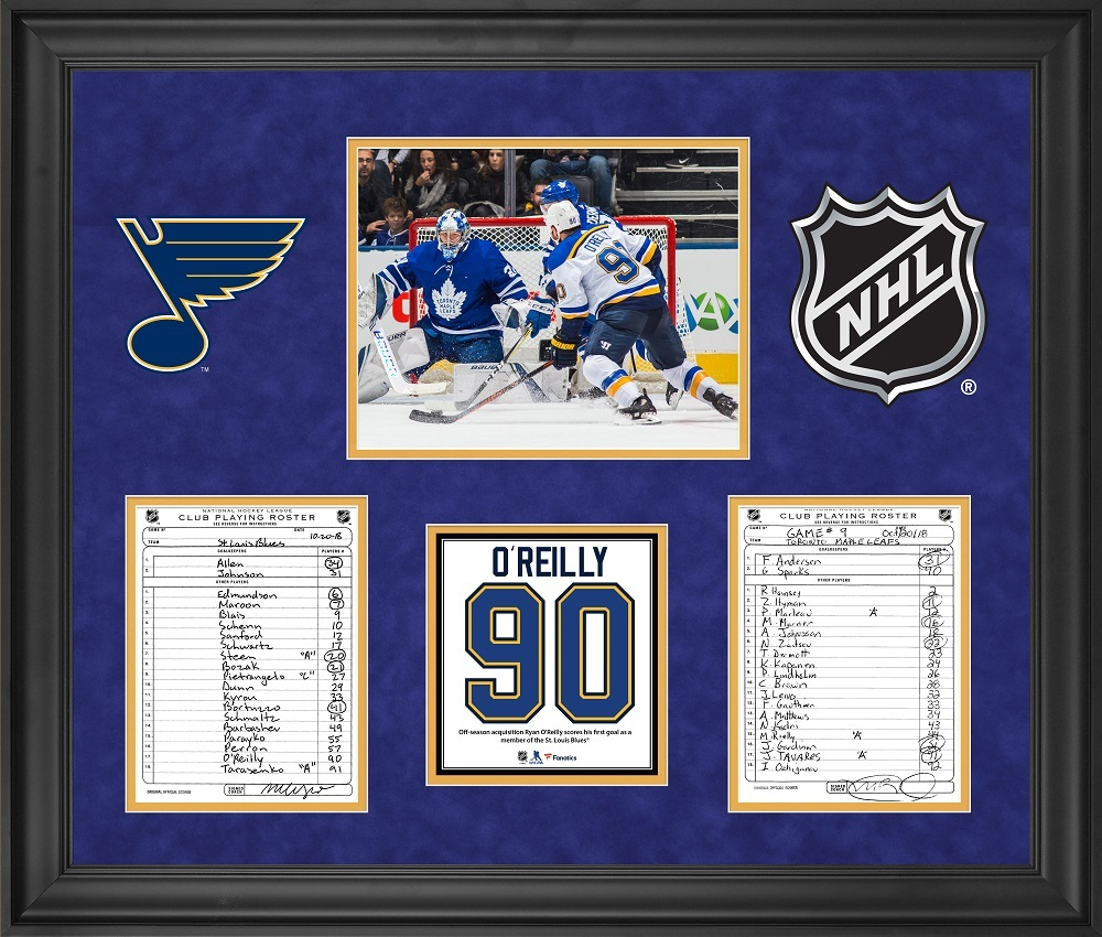 St. Louis Blues Framed Original Line-Up Cards from October 20, 2018 vs. Toronto Maple Leafs - Ryan O'Reilly First St. Louis Blues Goal