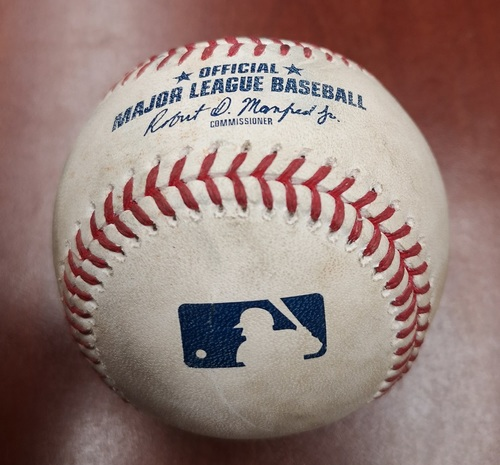 Photo of Authenticated Game Used Baseball - Single by Hunter Renfroe against Edwin Jackson (May 25, 19 vs SDP). Top 4. 1st Career Win for Cal Quantrill Game.