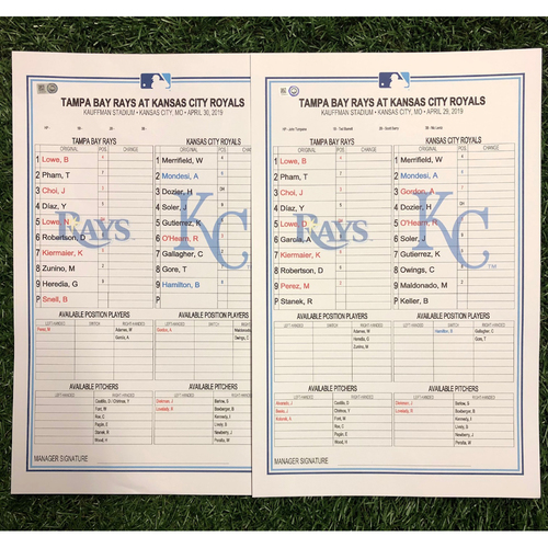 Photo of Replica LineUp Cards: April 29-May 2, 2019 at KC
