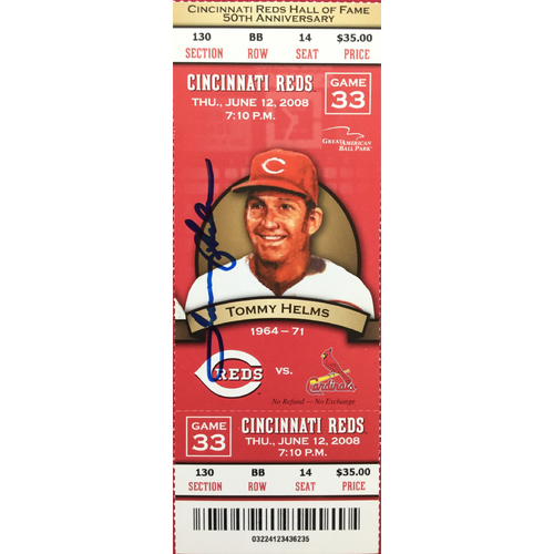 Photo of Tommy Helms Signed Ticket