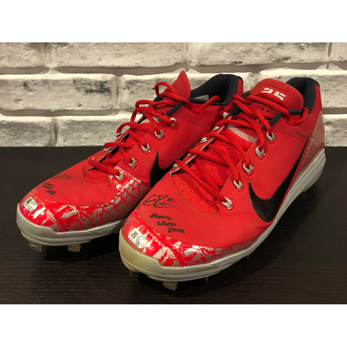 "Photo of Cody Reed -- *Autographed* Pair of Cleats -- Inscribed as ""Game Used 2018"" -- Size: 12.5"