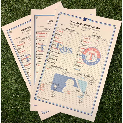 Photo of Replica Lineup Card Set: June 28-30, 2019 v TEX - Brendan McKay MLB Debut