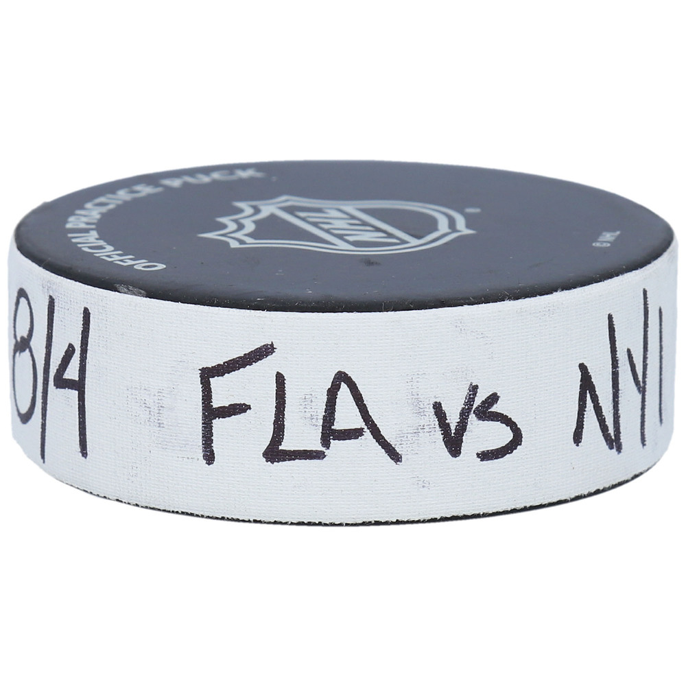 New York Islanders vs. Florida Panthers Practice-Used Puck from Game 2 of the 2020 Qualifying Series on August 4, 2020 - Used During Pregame Warm-Ups