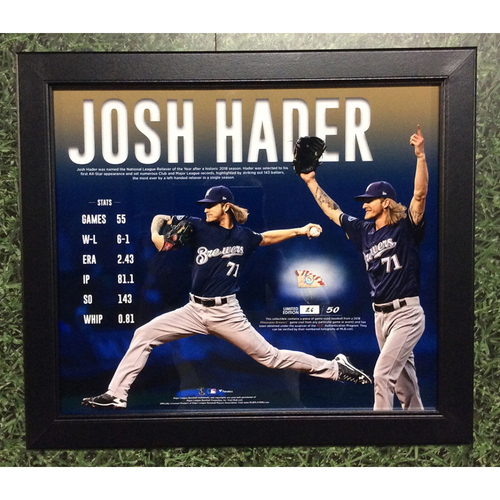 "Photo of Josh Hader 2018 Commemorative ""NL Reliever of the Year"" Framed Piece with Game-Used Baseball Swatch - Limited Edition of 50"