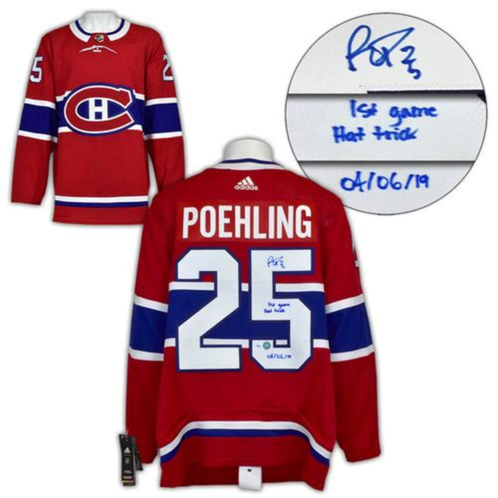 Ryan Poehling Montreal Canadiens Signed & Dated 1st Game Hat Trick Adidas Jersey