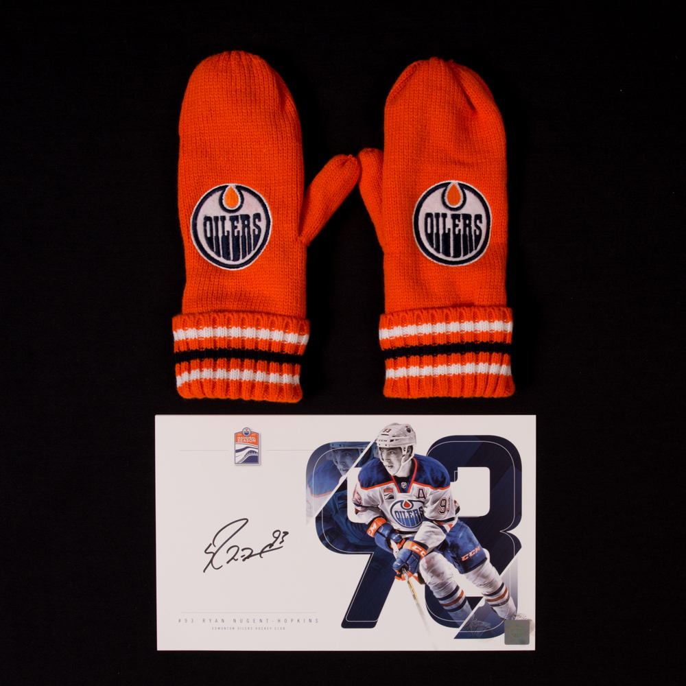 Ryan Nugent-Hopkins #93 - Autographed Edmonton Oilers Player Card And Pair Of Hockey Fights Cancer Mittens