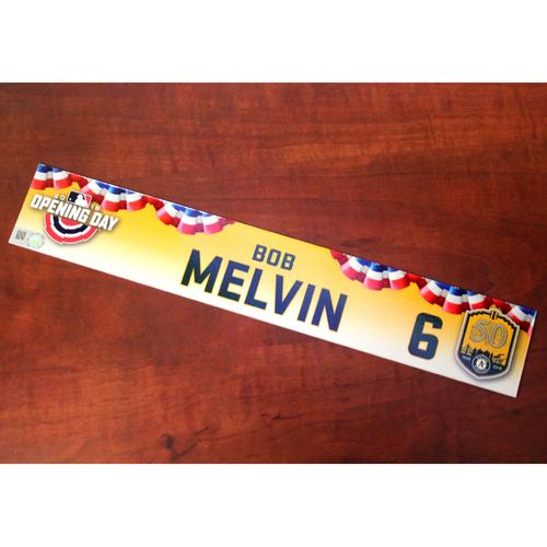 Photo of Bob Melvin Game-Used Opening Day 2018 Locker Nameplate