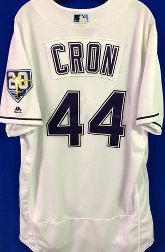 Photo of 20th Anniversary Game Used Devil Rays Jersey: C.J. Cron (2H,2 R) - March 31 v BOS, June 9 v SEA, June 23 v NYY and September 8 v BAL