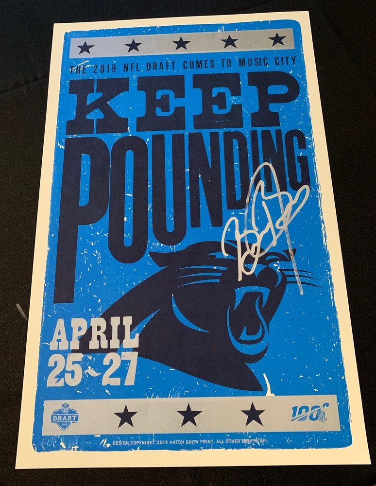 NFL - Carolina Panthers Brian Burns Signed Limited Edition Original Hatch Show Print 2019 NFL Draft Poster 14