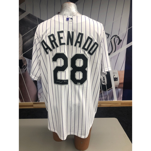 Photo of Colorado Rockies Autographed Replica Jersey: Nolan Arenado Home White