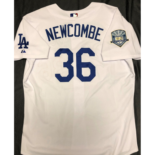 Photo of Don Newcombe 50th Anniversary Los Angeles Dodgers Jersey - Size 52