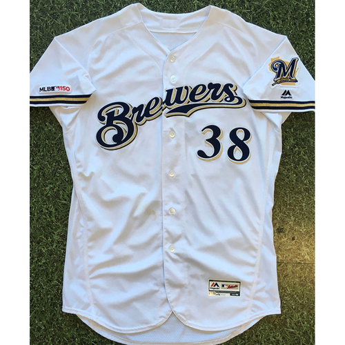 Photo of Devin Williams 2019 Game-Used Home White Jersey
