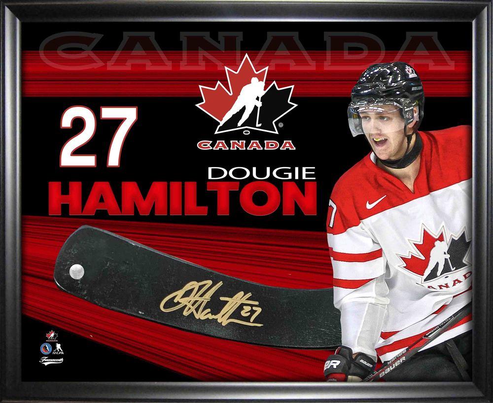 Dougie Hamilton Signed Team Canada Stickblade Framed PhotoGlass