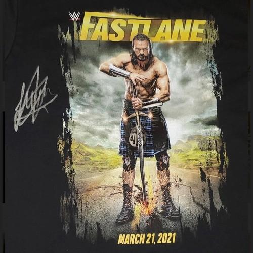 Photo of Drew McIntyre SIGNED Fastlane 2021 Event T-Shirt