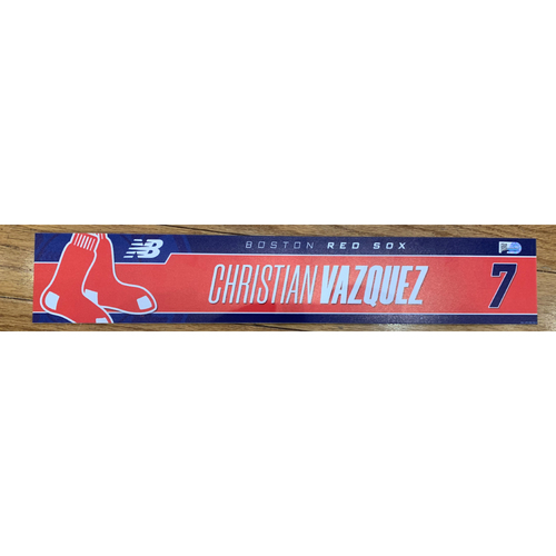 Photo of Christian Vazquez June 7, 2021 and August 21, 2021 Game Used Locker Tag