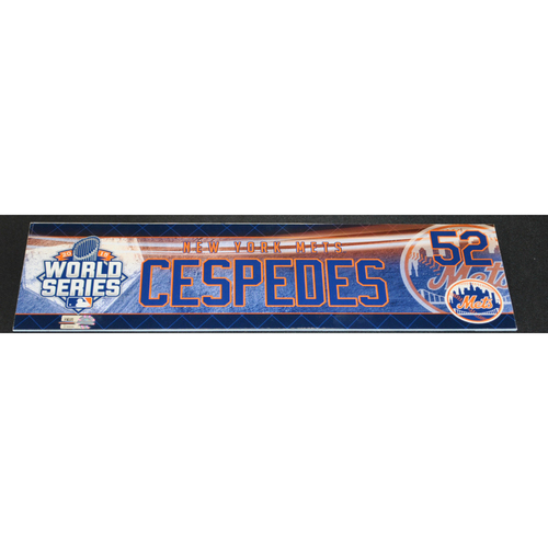 Photo of Game-Used Locker Name Plate - 2015 World Series Games 1 and 2 - Kansas City Royals vs. New York Mets - Yoenis Cespedes (New York Mets)