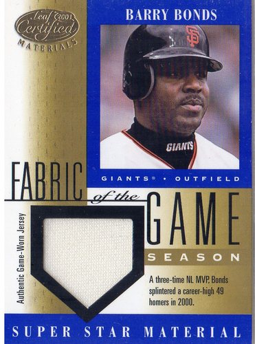 Photo of 2001 Leaf Certified Materials Fabric of the Game #44SN Barry Bonds/49