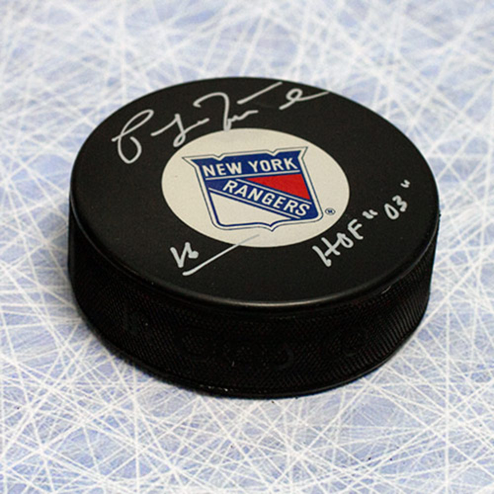 Pat LaFontaine New York Rangers Autographed Hockey Puck w/ HOF Inscription