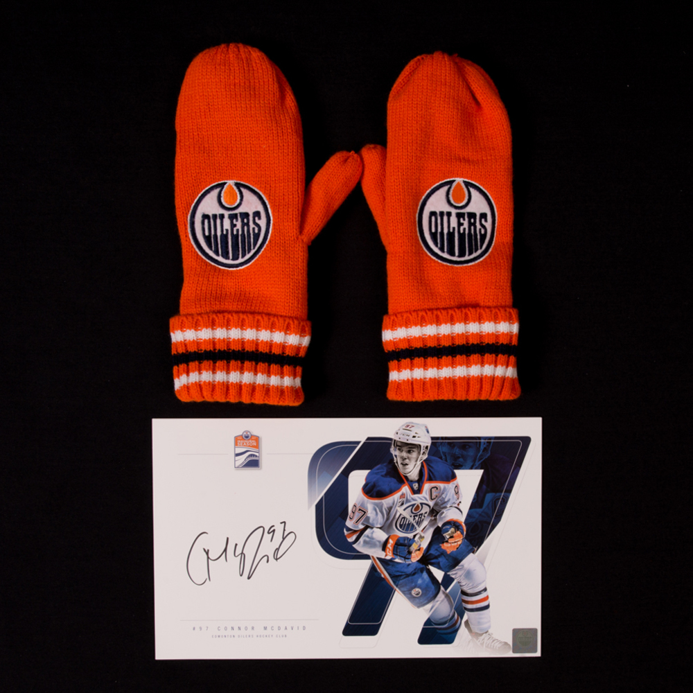 Connor McDavid #97 - Autographed Edmonton Oilers Player Card And Pair Of Hockey Fights Cancer Mittens