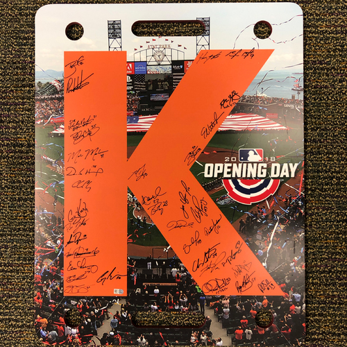 Photo of 2018 San Francisco Giants - Team Autographed 2018 Opening Day K Board