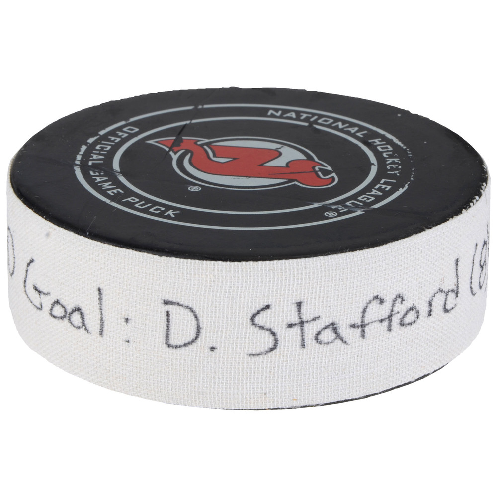 Drew Stafford New Jersey Devils Game-Used Goal Puck from February 1, 2018 vs. Philadelphia Flyers