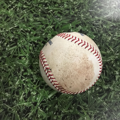 Photo of Game-Used Baseball CHC@MIL  04/05/18 - Brent Suter - Javier Baez: 2-Run Single